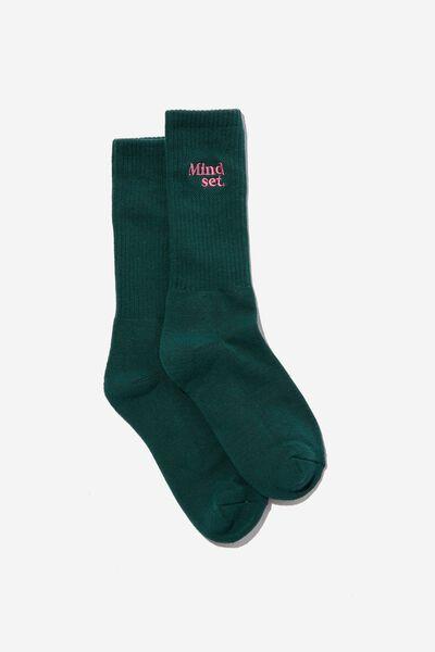 Retro Ribbed Socks, WASHED DARK TEAL/MINDSET