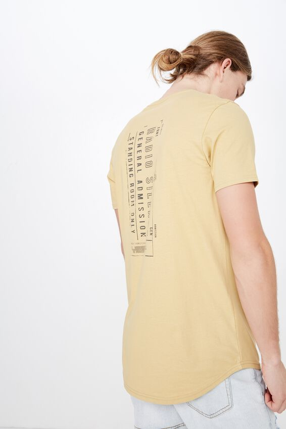 Curved Graphic T Shirt, WASHED MUSTARD/RADIO SILENCE