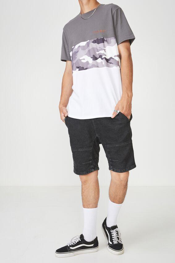 Knit Denim Walk Short, BLACK