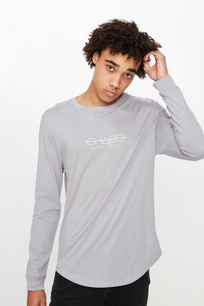 Curved Long Sleeve Graphic T Shirt, WASHED SLEET/CHAOS