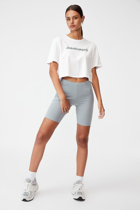 Short Sleeve Crop Graphic T Shirt, WHITE/LOVE YOURSELF