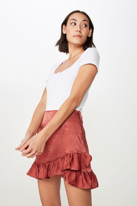 Satin Ruffle Skirt, DARK ROSE