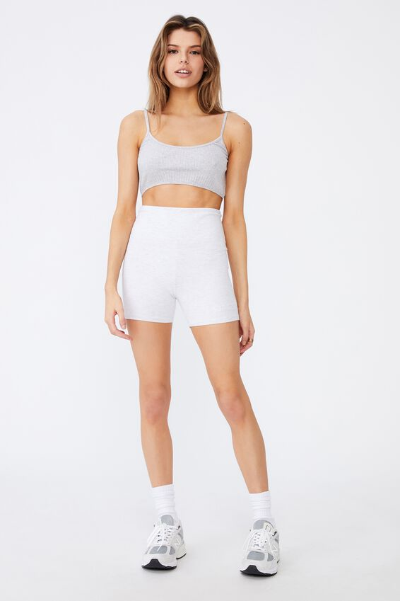 Cheeky High Waisted Printed Bike Short, SILVER MARLE/EST 1986