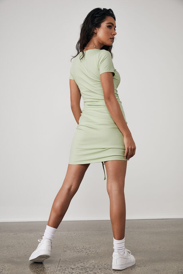 Ruched Front Short Sleeve Dress, PISTACHIO