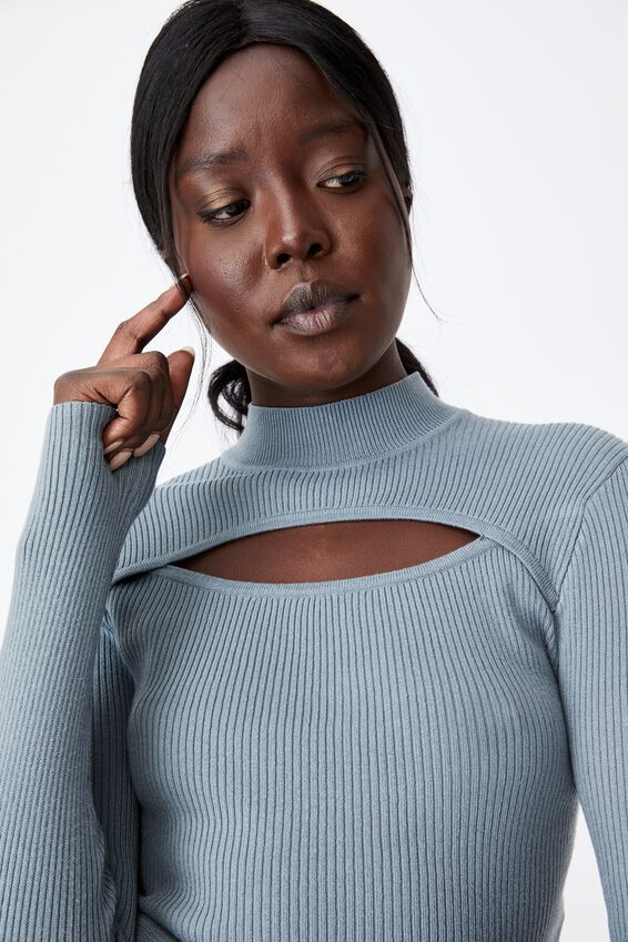 Cut Out Funnel Neck Knit Top, PETROL BLUE
