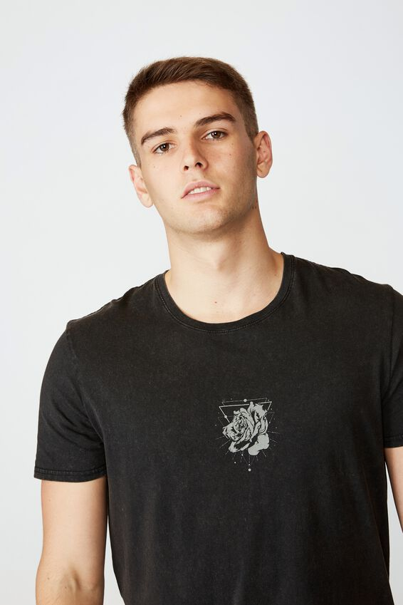 Curved Graphic T Shirt, WASHED BLACK/CENTER ROSE