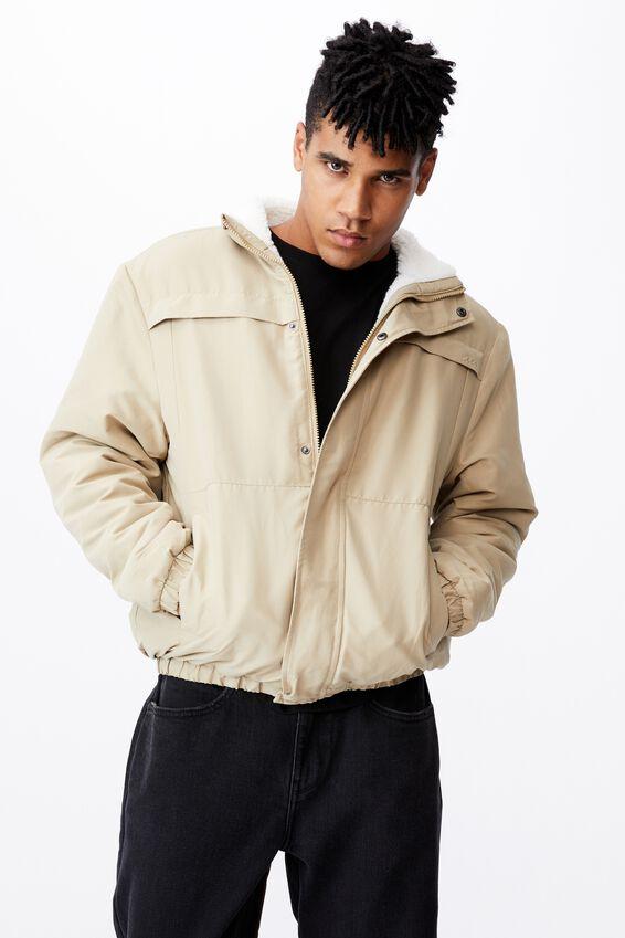 Reversible Sherpa Ski Jacket, TAN/OFF WHITE