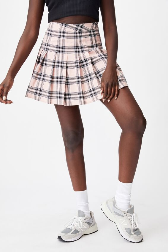 Pleated Skirt, LAYLA CHECK SILVER PINK