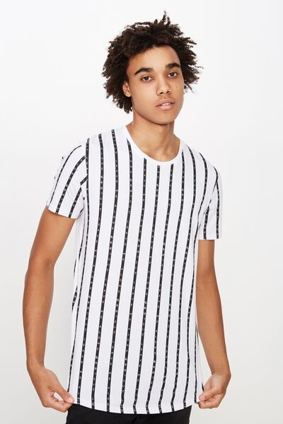 Curved Graphic T Shirt, WHITE/ALONE