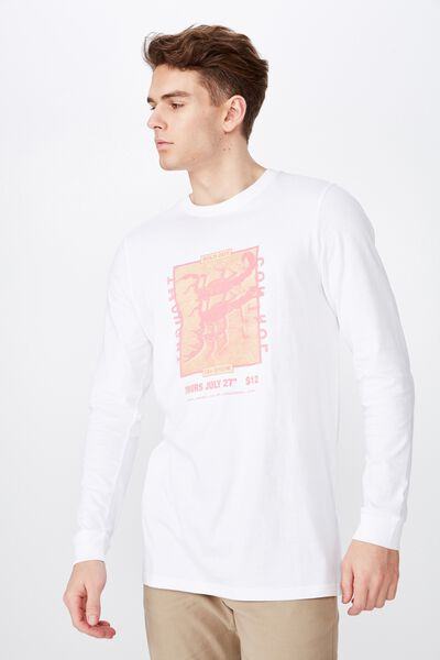 Slim Long Sleeve Graphic T Shirt, WHITE/CONTROL