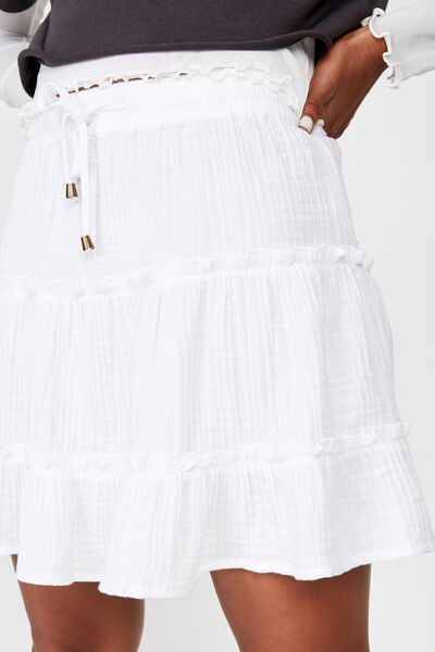 Tiered Skirt, WHITE