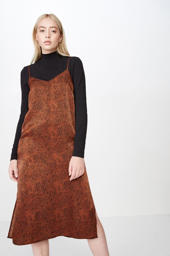 Satin Midi Dress, GINGER SPOT ANIMAL