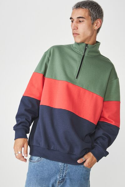 Qtr Zip Fleece, GREEN/RED/NAVY SPLICE
