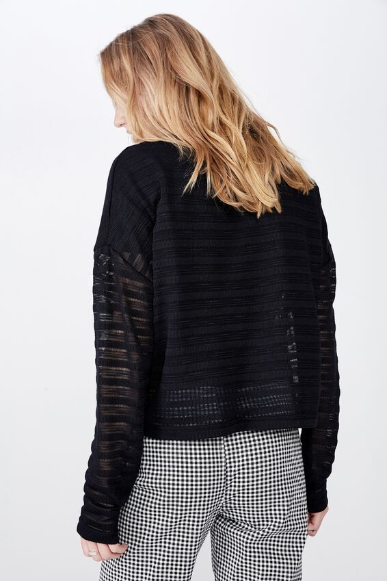 Slouchy Textured  Sweater, BLACK