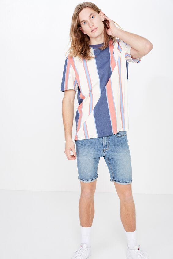 Fila Lcn Regular Stripe T Shirt, WASHED INDIGO STRIPE
