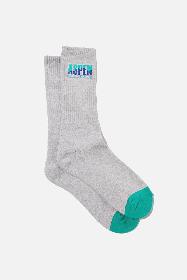 Retro Ribbed Socks, LT GREY MARLE ASPEN