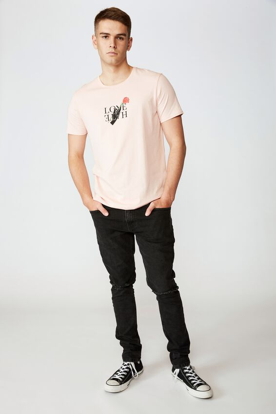 Curved Graphic T Shirt, STRAWBERRY CREAM LOVE HATE