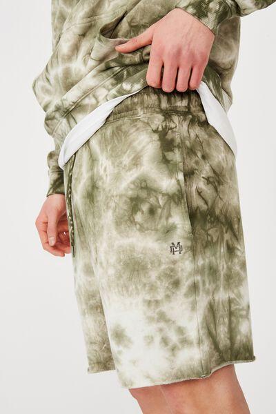 Tie Dye Track Short, WHITE/ARMY GREEN TIE DYE