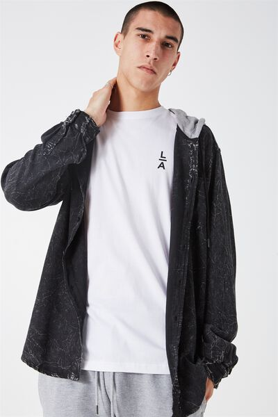 L/S Hooded Shirt, BLACK/GREY MARLE