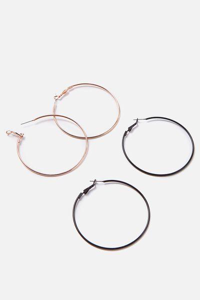 Hoop Earring 2Pk, ROSE GOLD/BLACK