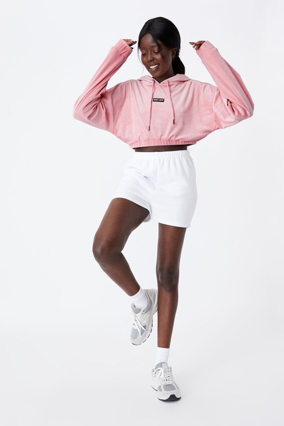 Velour Cropped Hoody, SILVER PINK