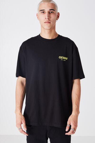 Gemeni Horoscope T Shirt, BLACK/YELLLOW