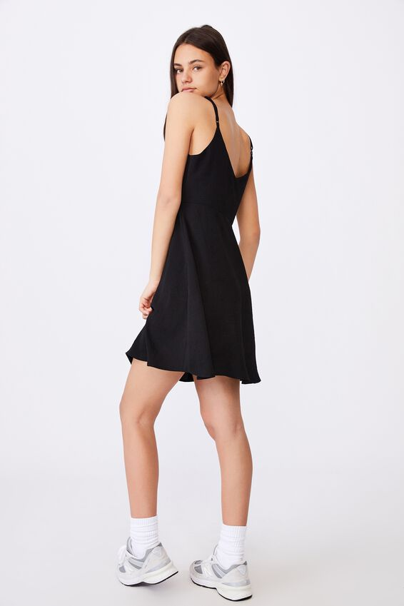 Button Through Dress, BLACK