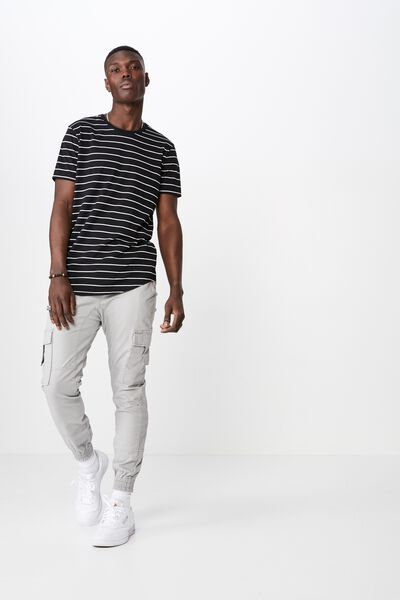 Curved Stripe T Shirt, BLACK/WHITE STRIPE