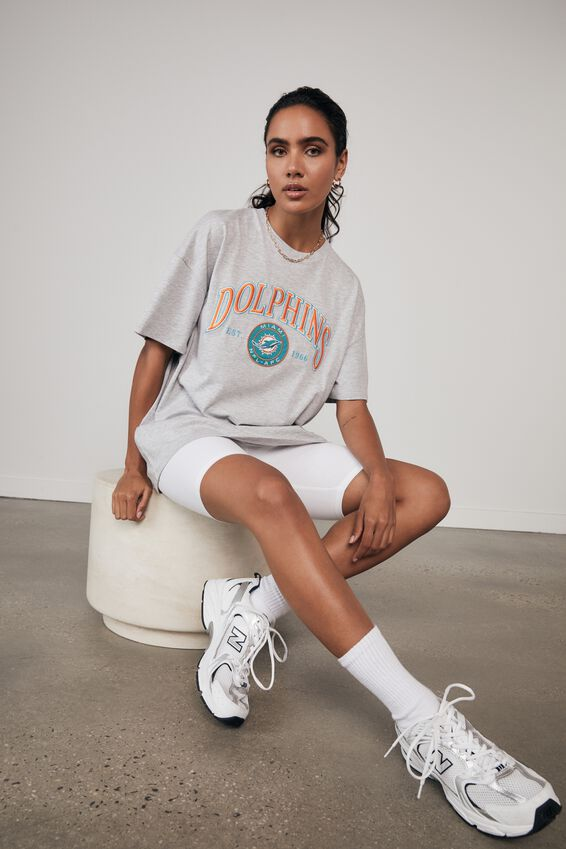 Lcn Super Relaxed Nfl Graphic Tee, LCN NFL GREY MARLE/DOLPHINS