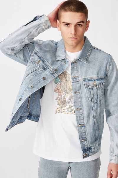 Garage Denim Jacket, WASHED BLUE