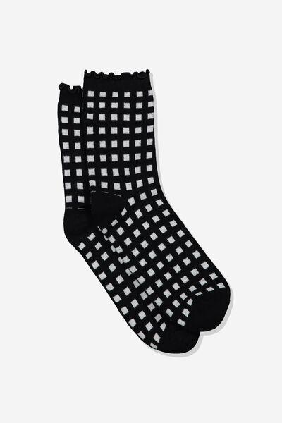 The Original Sock, BLACK WHITE CHECK LETTUCE