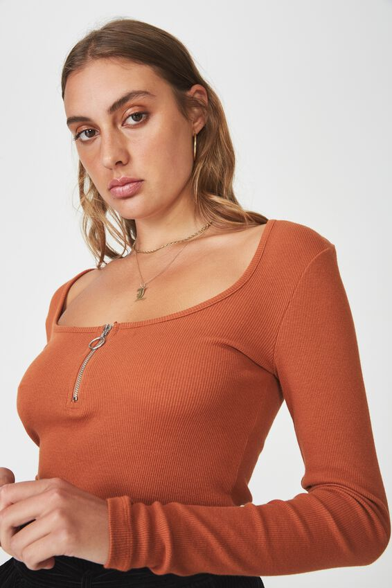 Long Sleeve Scoop Neck Henley, GINGERBREAD