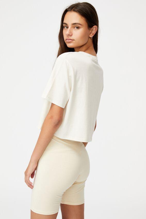 Short Sleeve Crop Graphic T Shirt, IVORY/IOWA