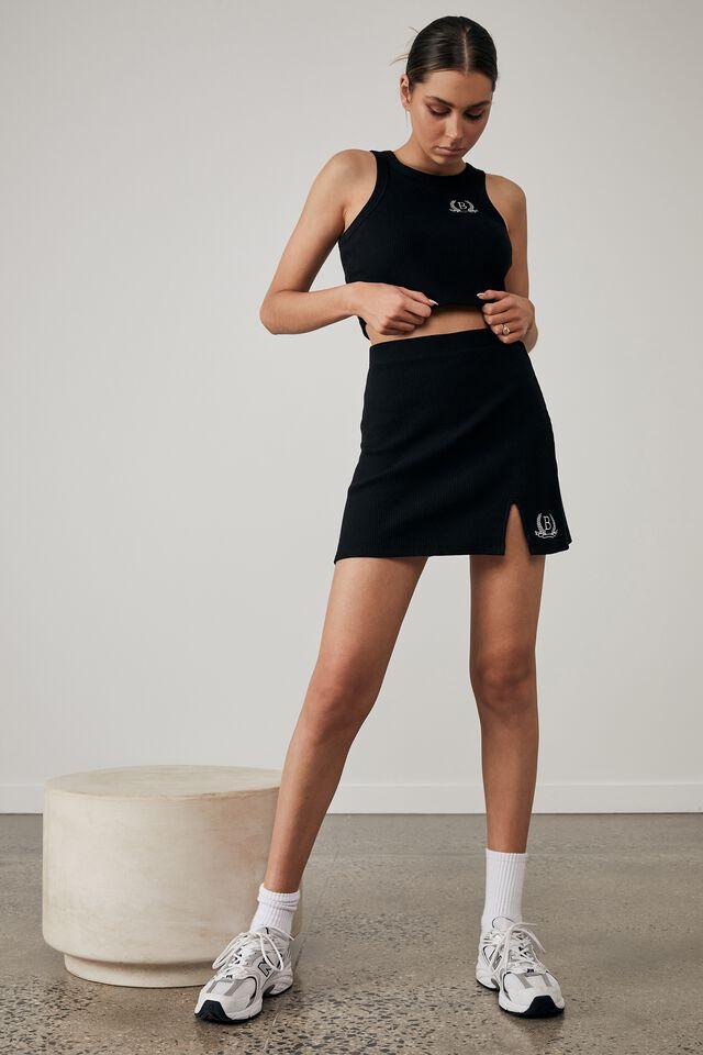 Side Split Mini Skirt, BLACK_PREP CREST