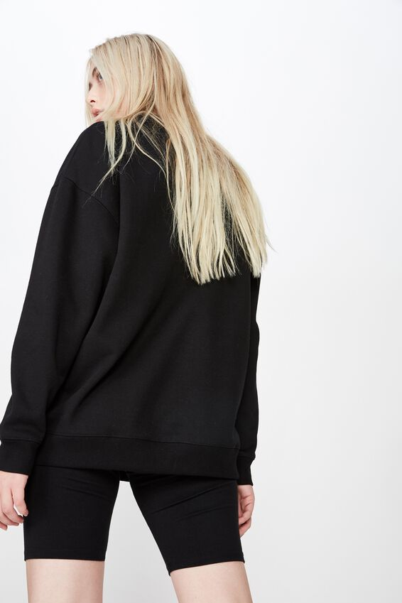 Oversized Crew Neck Sweater, BLACK
