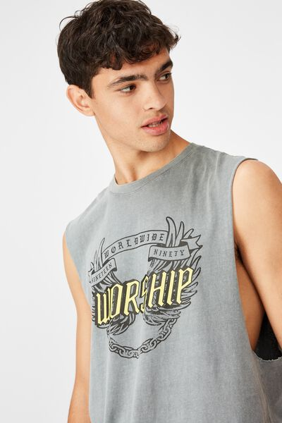 Graphic Muscle Tank, WASHED GREY/WORSHIP