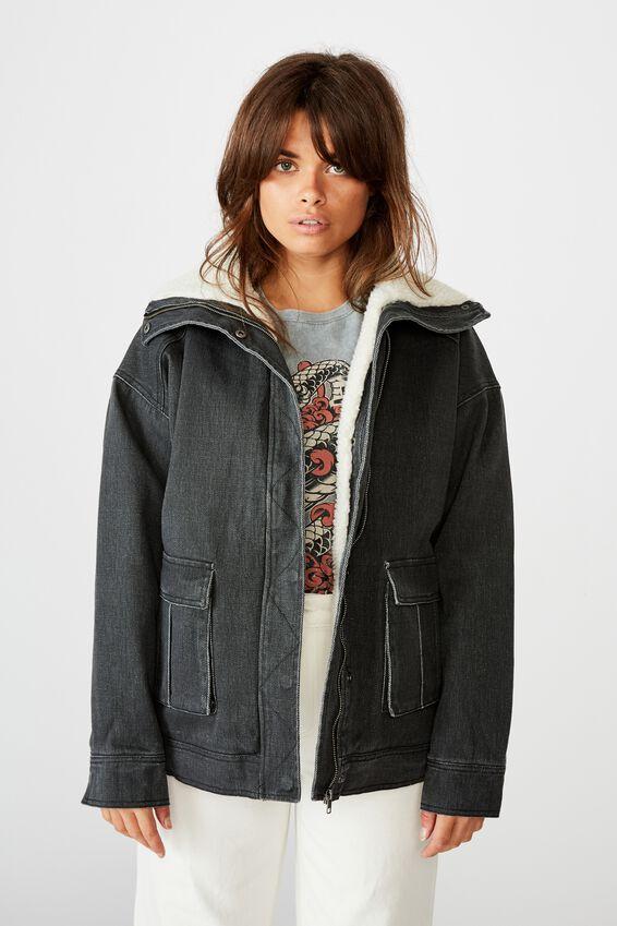 Utility Sherpa Jacket, WASHED BLACK