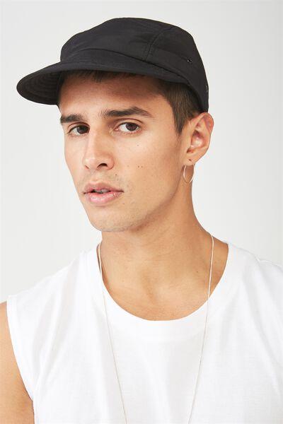 Nylon Military Cap, BLACK