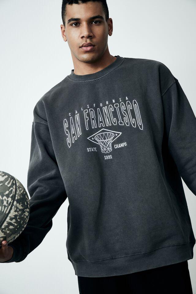 Elite Oversized Crew, WASHED BLACK/SAN FRANCISCO