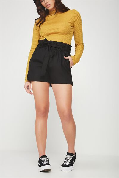Paperbag Tie Short, BLACK
