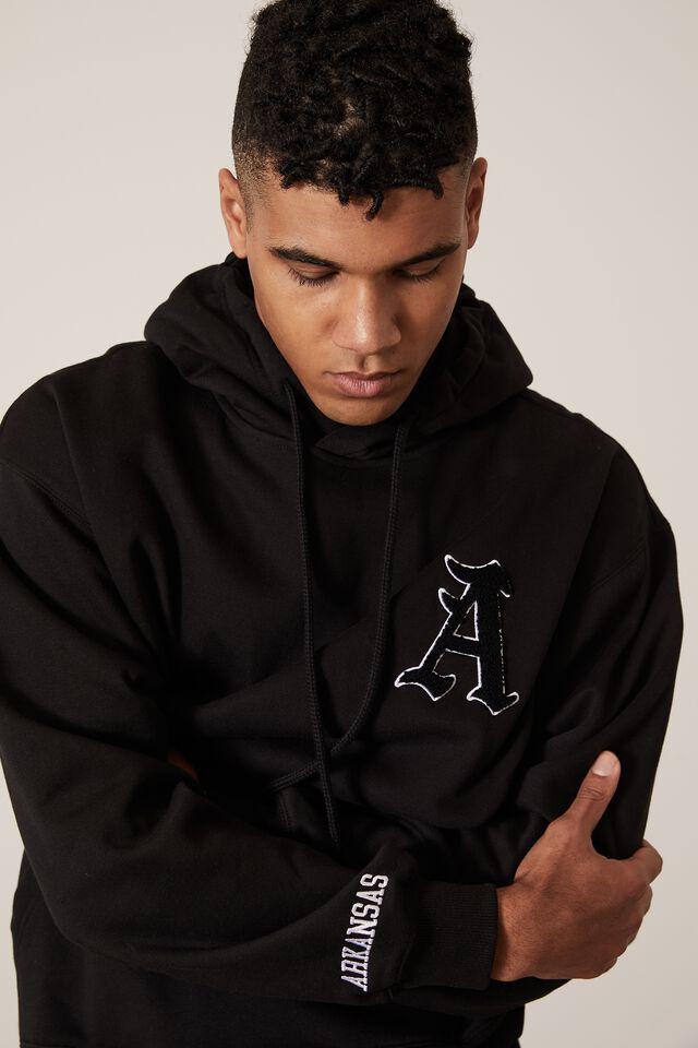 Oversized Graphic Hoodie, BLACK/ARKANSAS