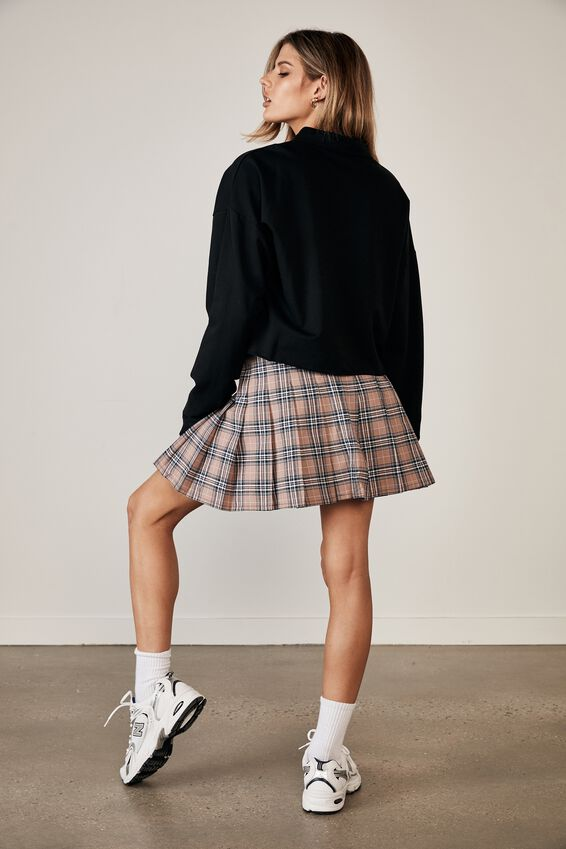Pleated Skirt, MIA CHECK_DIRTY BLUSH