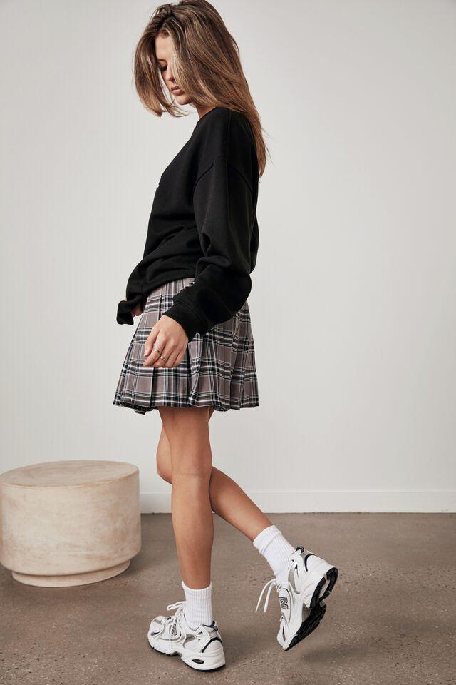 Pleated Skirt, LAYLA CHECK_PLUM KITTEN