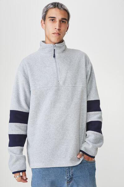 Qtr Zip Polar Fleece, GREY MARLE/NAVY SPLICE
