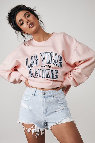 Lcn Nfl Oversized Graphic Crew, LCN NFL WASHED PARFAIT PINK/RAIDERS