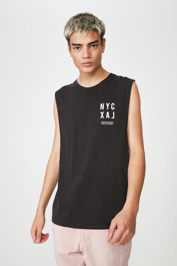 Graphic Muscle Tank, WASHED BLACK/NY VS LA