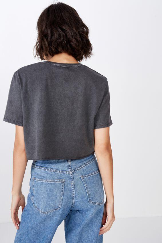 Short Sleeve Raw Edge Crop T Shirt, ASPHALT/SELF LOVE