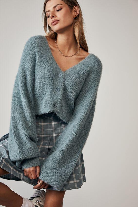 Fluffy Knit Boxy Crop Cardi, PETROL BLUE