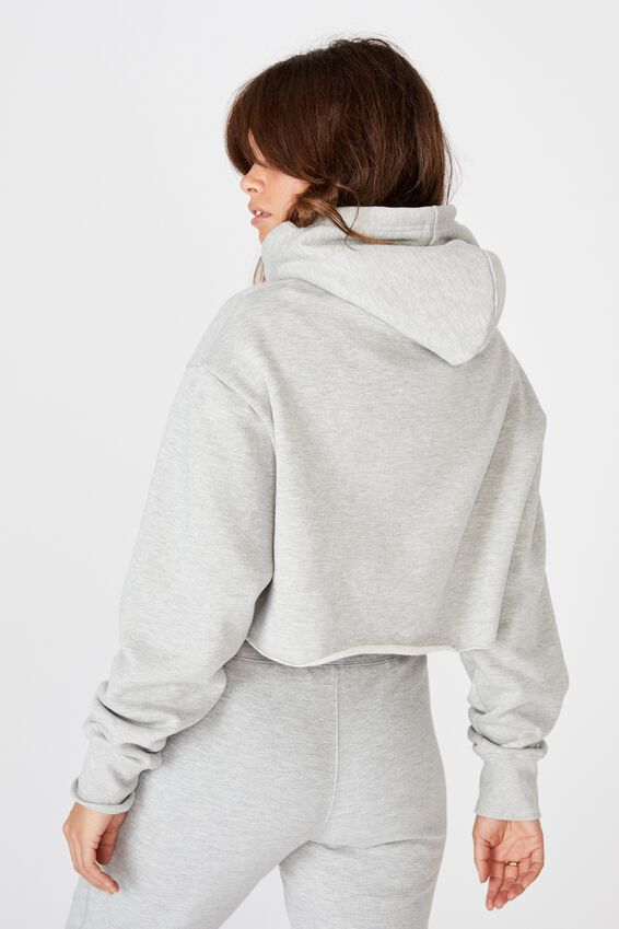 Washed Crop Embroidered Hoodie, GREY MARLE/HU