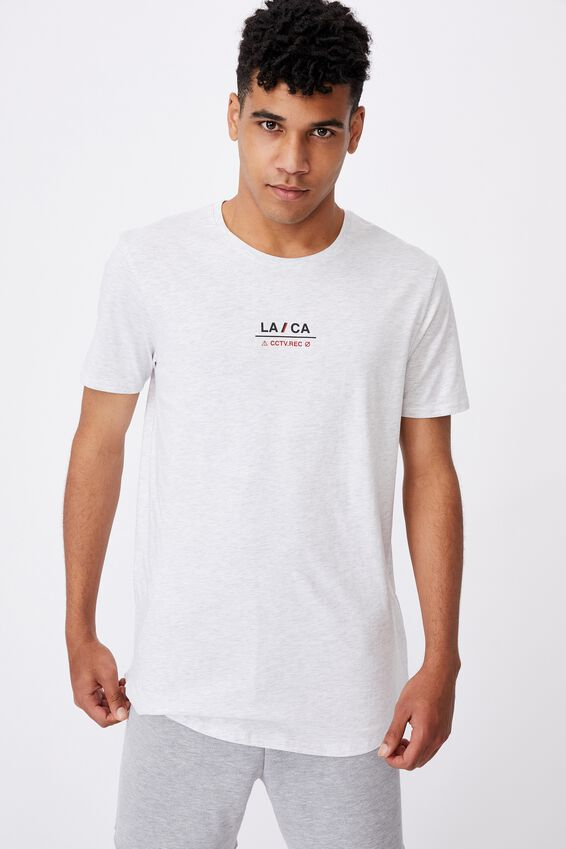 Curved Graphic T Shirt, SILVER MARLE/LA CA